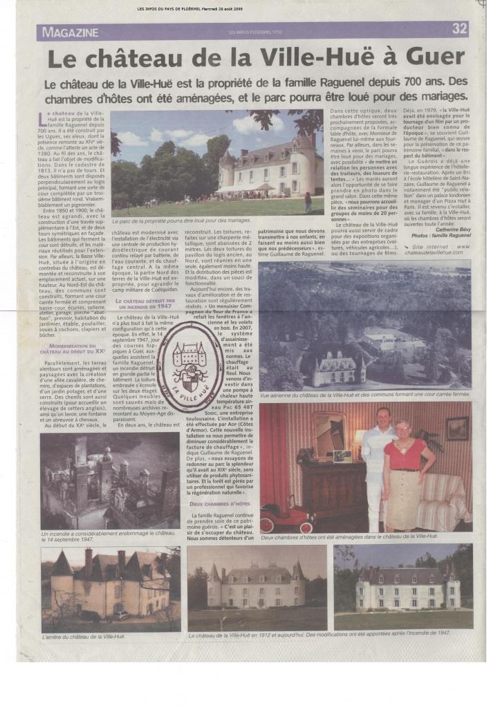 Article paru dans les Infos du Pays de Ploërmel le 26 août 2009