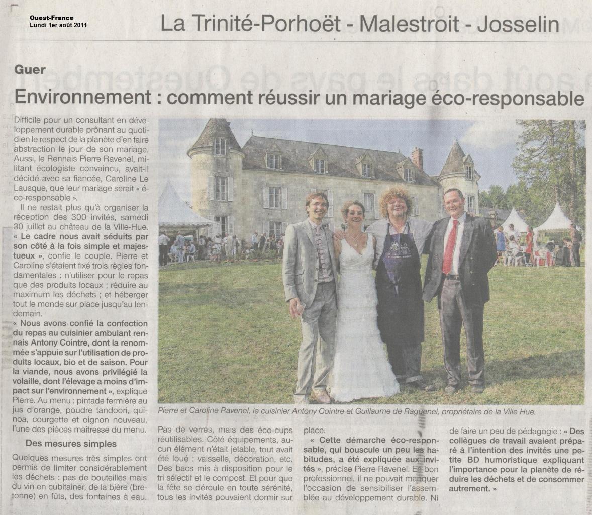 Article paru dans le Ouest-France le 1er août 2011